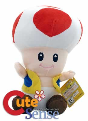 Super Mario Bros Red Toad Plush Mushroom Doll 12