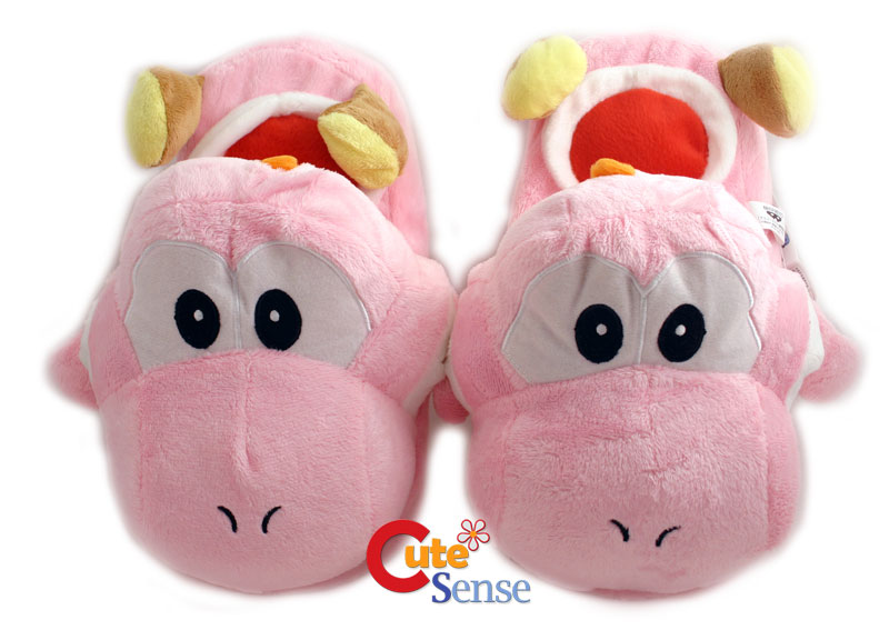 Super Mario Pink Yoshi Plush Slipper -Adult Size at Cutesense.com