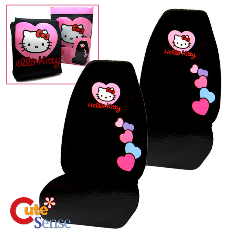 hello kitty car seat cover auto accessory 2pc front seat covers high back love ebay. Black Bedroom Furniture Sets. Home Design Ideas