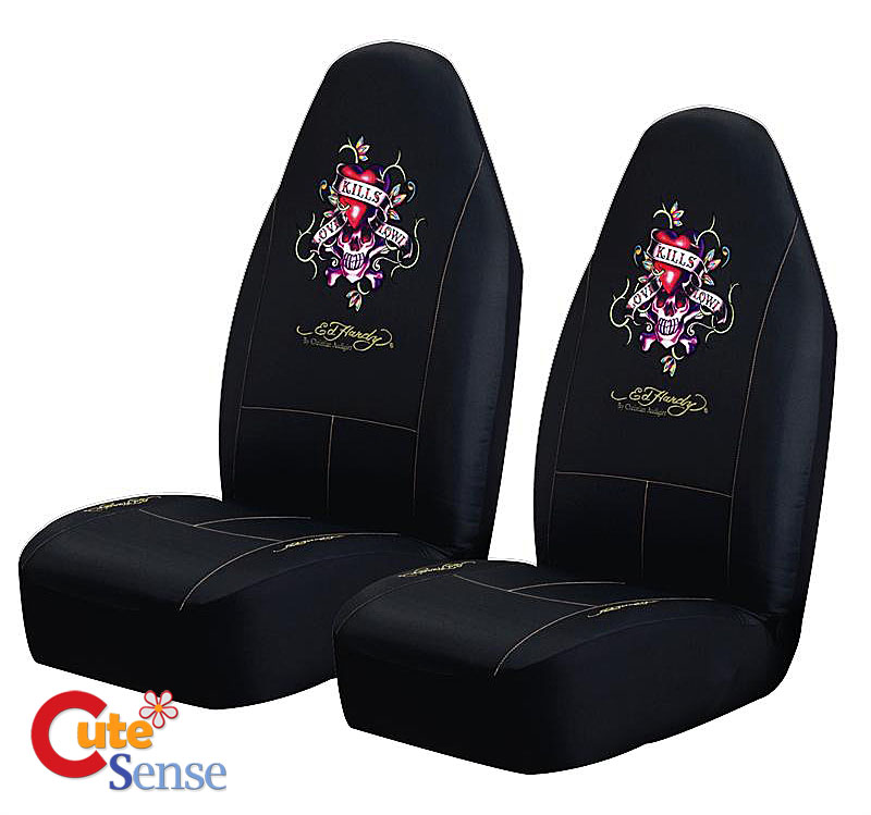 Ed Hardy Love Kills 2PC Car Front Seat Covers Set