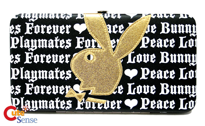 Play Boy Gold Bunny Leather Falt Wallet at Cutesense.com