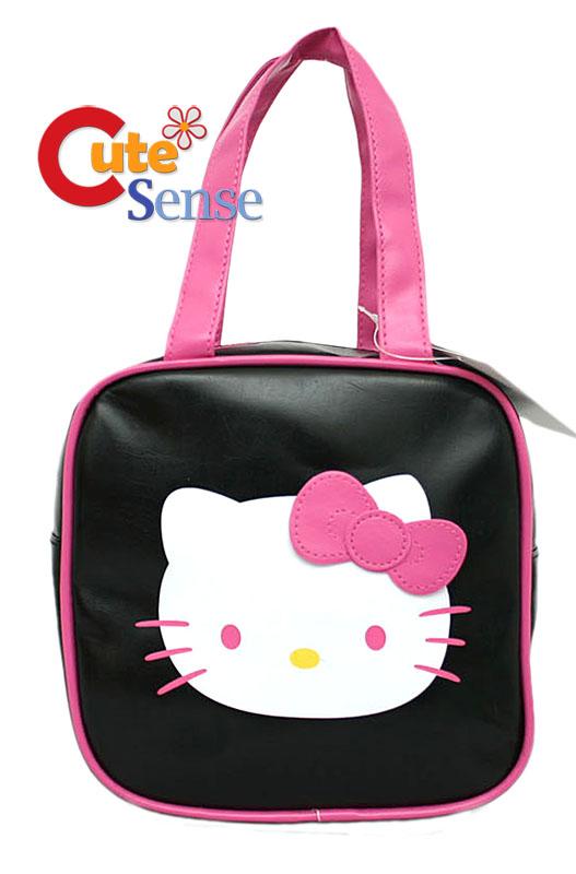 Sanrio Hello Kitty Pink Black Leather Purse Hand Bag