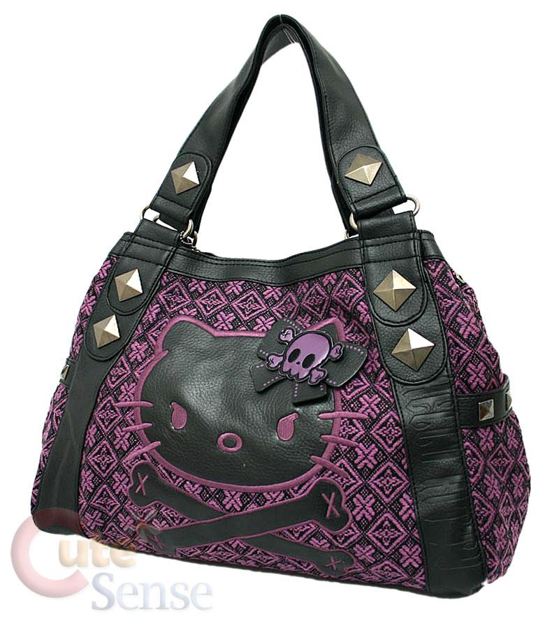 sanrio hello kitty angry kitty purple tweed hand bag