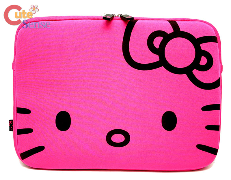 Sanrio Hello Kitty Formed Macbook i-Pad Case, LapTop Bag-Pink Face at