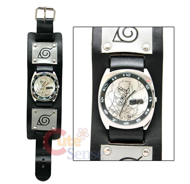 Naruto Kakashi Wrist Watch Stainless Wide Leather Band