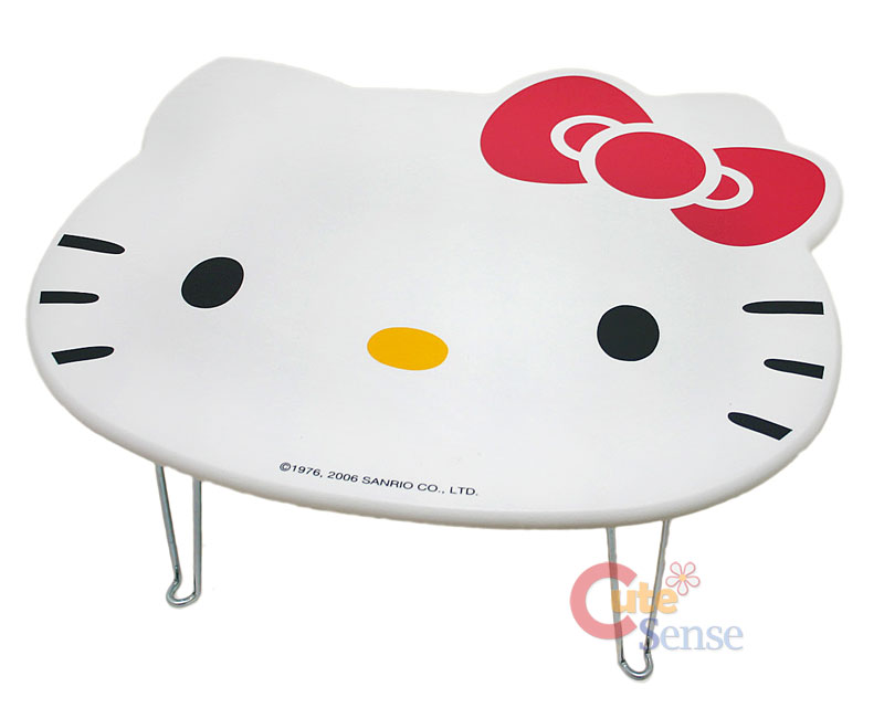 Sanrio hello kitty face folded table accent work play white for Table exterieur hello kitty