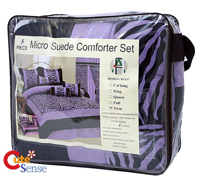 Queen Size Comforters on Zebra Queen Size Comforter 7pc Bedding Set Black Violet   Ebay