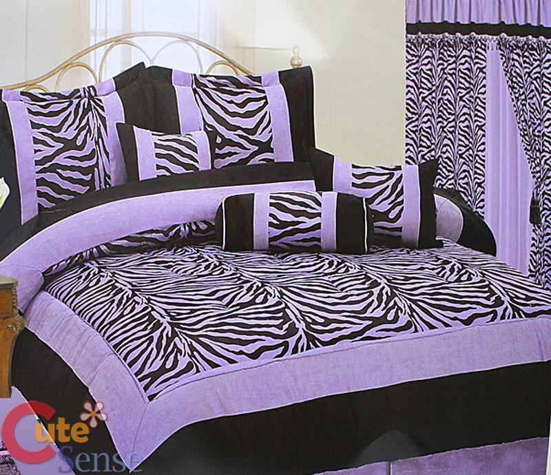 Details about zebra queen size comforter 7pc bedding set black viol et