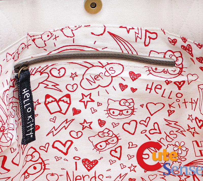 4f64961306 Sanrio Hello Kitty Nerd Face Tote Bag at Cutesense.com