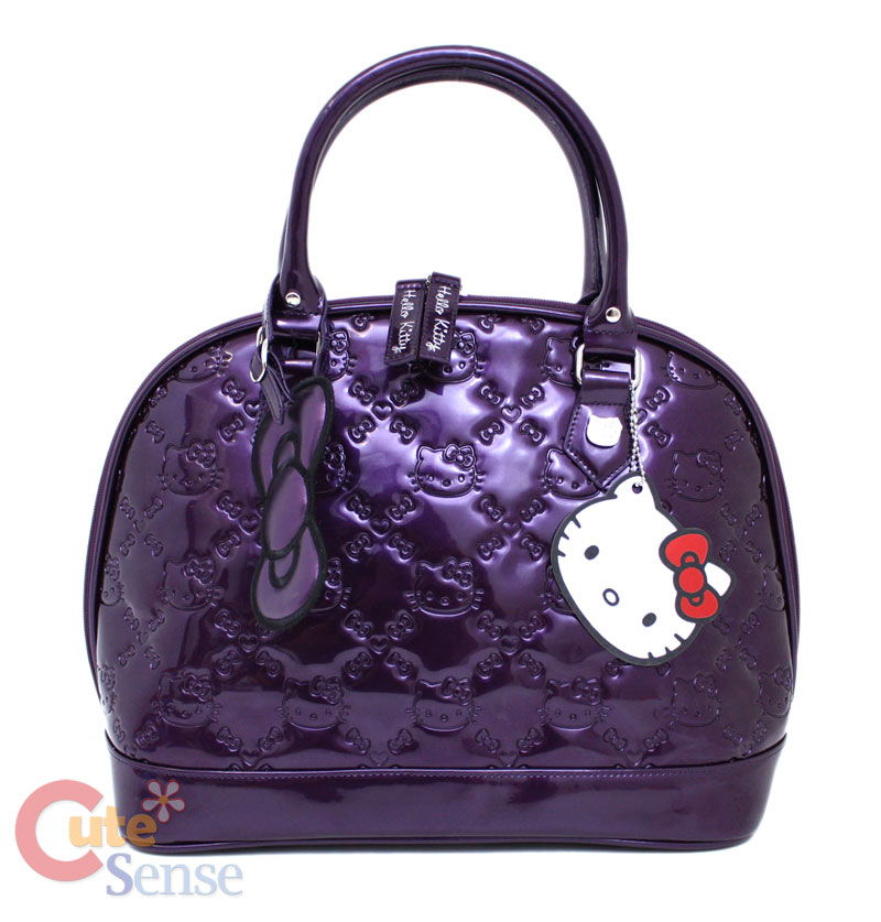 Sanrio Hello Kitty Purple Shiny Embossed Hand Bag at Cutesense.com