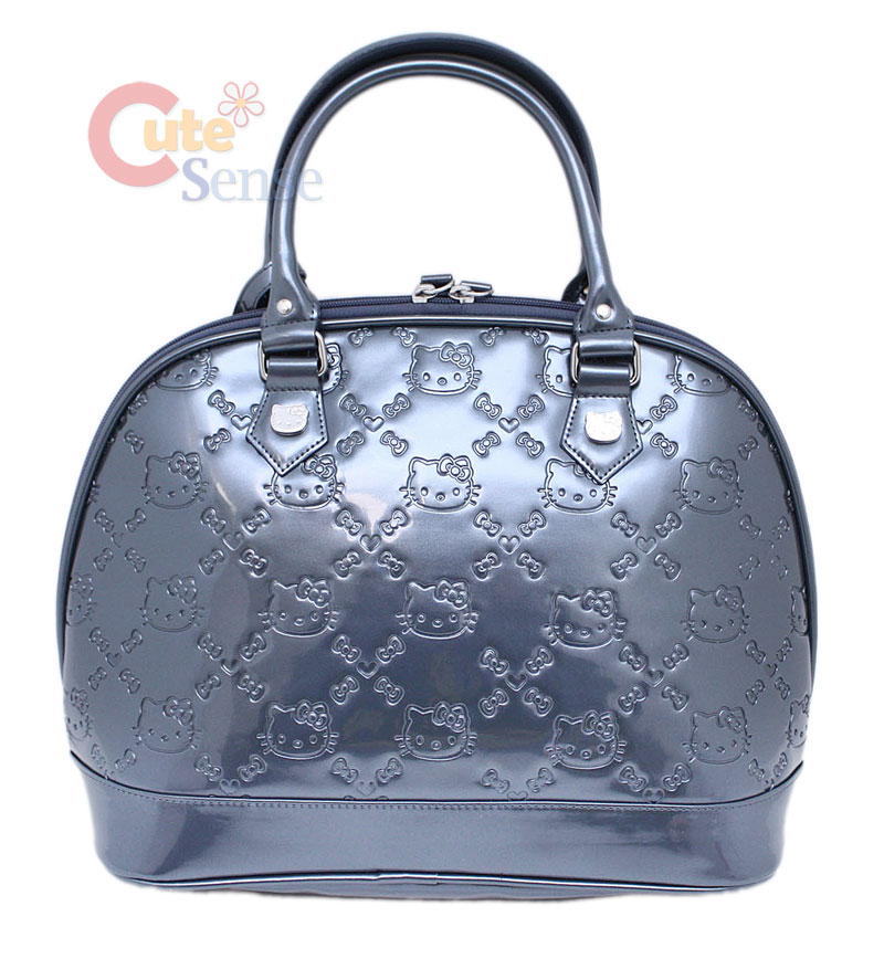 Sanrio Hello Kitty Gray Shiny Embossed Hand Bag at Cutesense.com