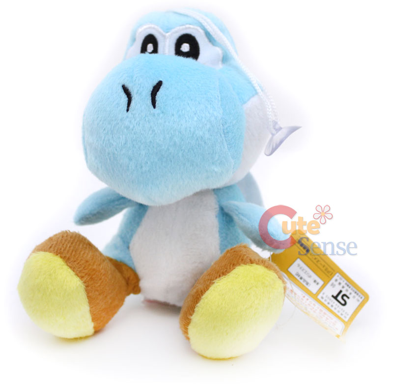 Super Mario Bros Dark Blue Yoshi Plush Doll Figure 6in
