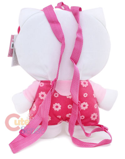 Sanrio Hello Kitty Pink Flowers Plush Backpack 2