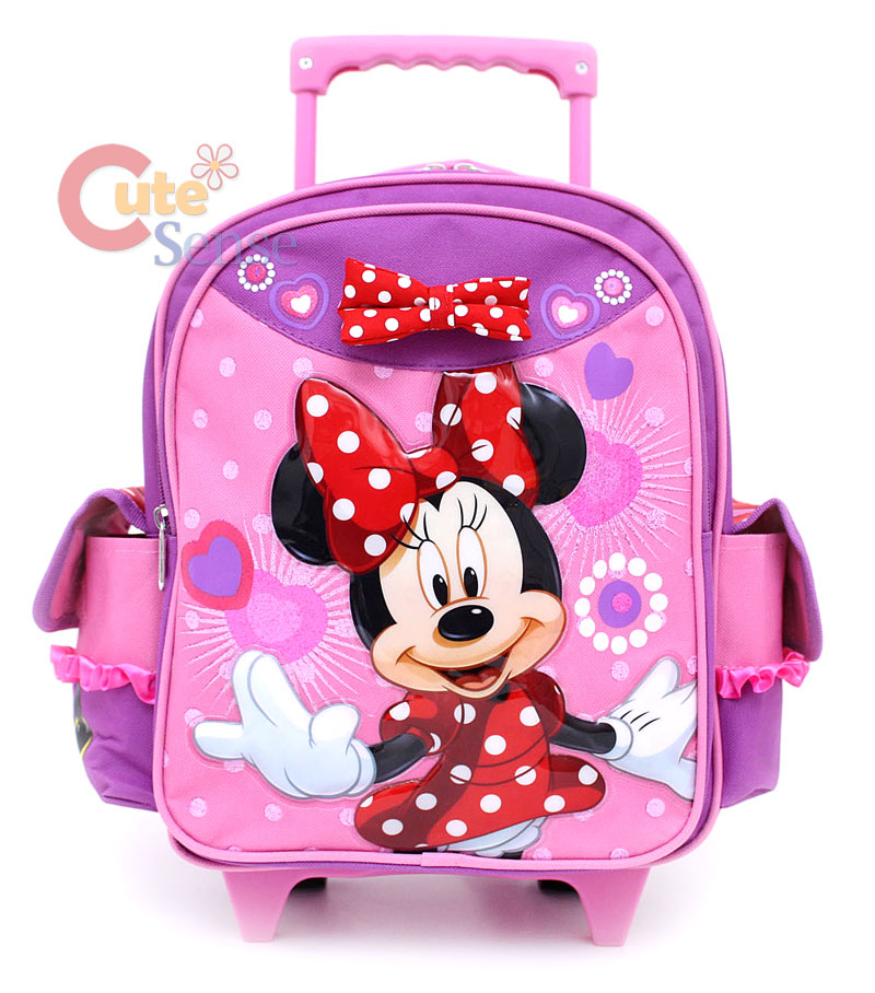 Disney Minnie Mouse Red Bow School Roller Backpack Rolling Bag 1