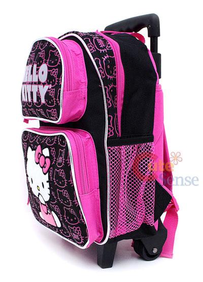 HELLO KITTY School Roller Backpack Rolling Bag Black S