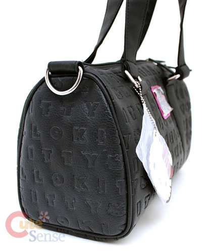 Sanrio Hello Kitty Black Embossed Duffel Bag with metal applique