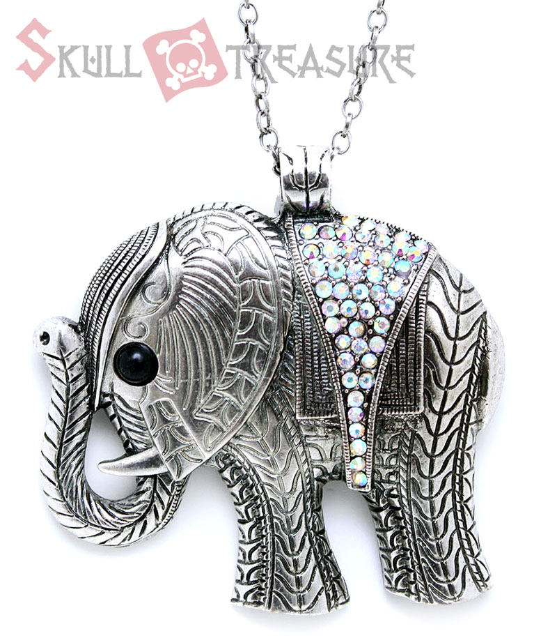 Elephant Necklace on Elephant Animal Pendant Necklace With Rhinestones At Cutesense Com