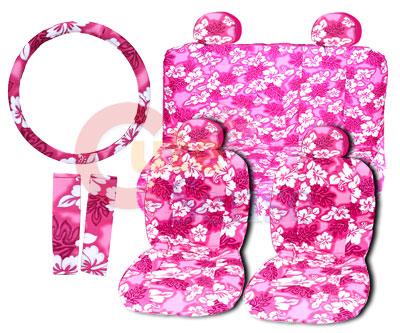 Pink hawaiian flowers car seat covers accessories complete set full pink hawaiian flowers car seat covers accessories complete set full 14pc mightylinksfo
