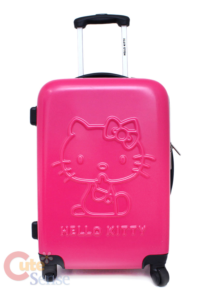 Sanrio Hello Kitty Luggage Trolley Bag 24 Hard Case Emblems Pink