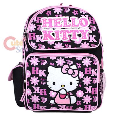 Sanrio Hello Kitty School Backpack Black Flowers 16 Large