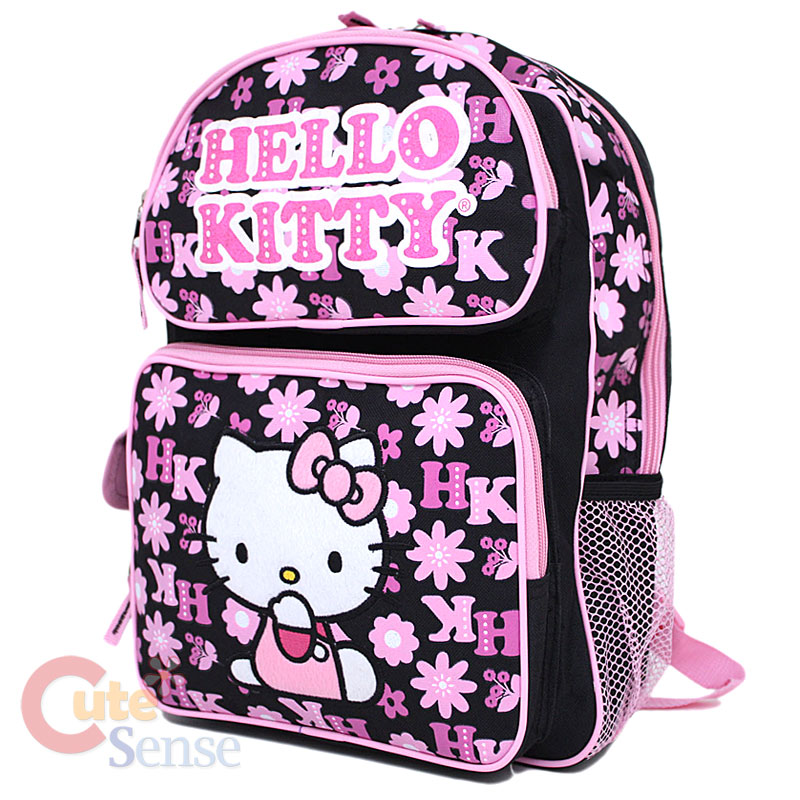 "Sanrio Hello Kitty School Backpack Bag Black Large-16"""
