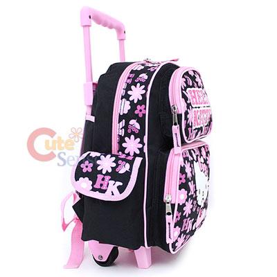 Hello Kitty School Roller Backpack Rollig Bag Black Pink Flowers 3