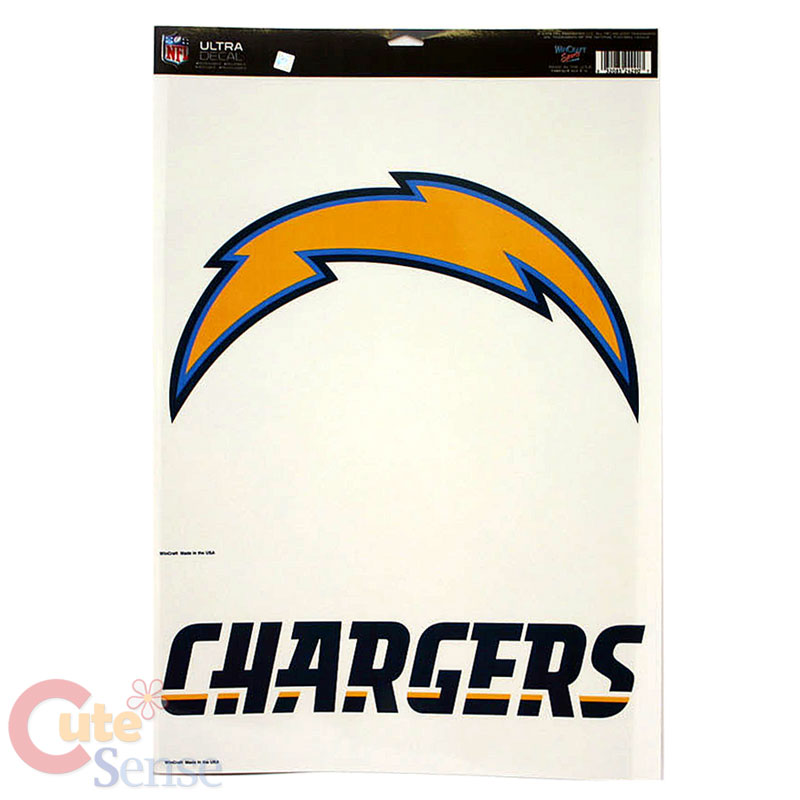 "San Diego Chargers Car Accessories: NFL San Diego Chargers Window Clings Decal Big Logo 11""x17"