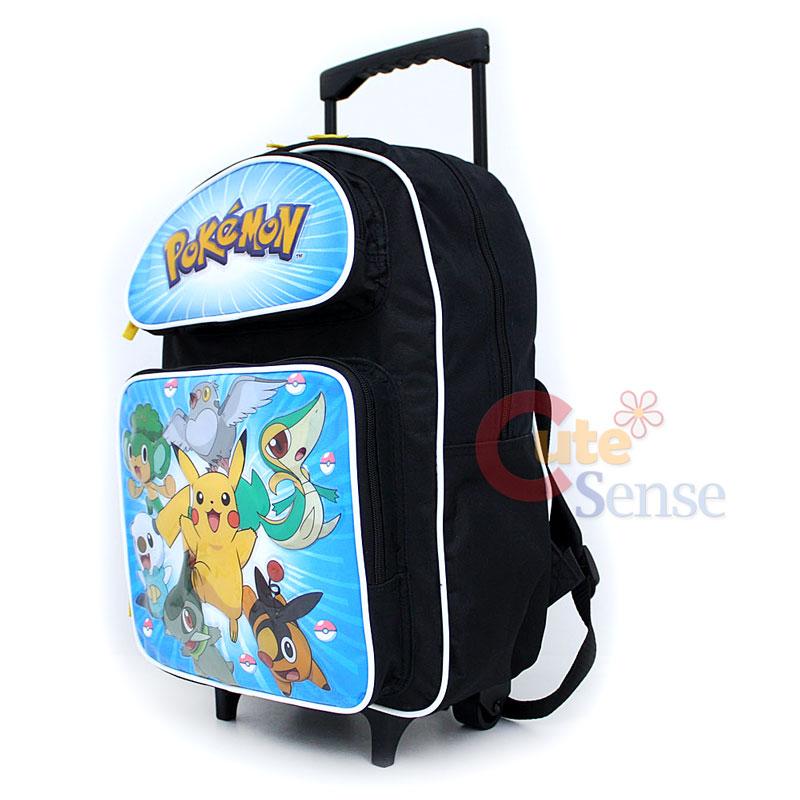 Pokemon School Roller Backpack /Bag 16 L Black & White