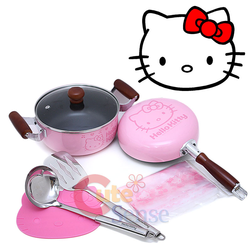 Sanrio Hello Kitty Kitchen Cookware Set Pink Pot Fly Pan Turner