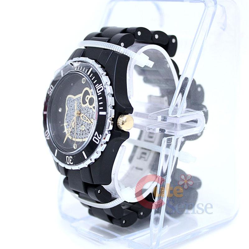 Sanrio Hello Kitty Sports Wrist Watch w/Stone Face BK