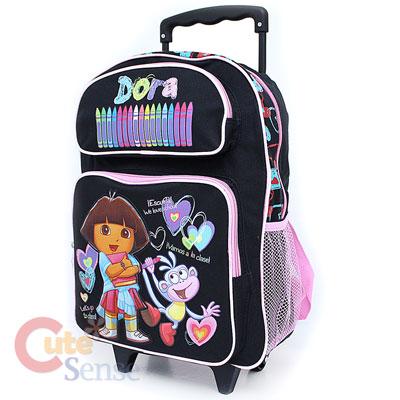 Dora & Boots School Rolling Backpack Roller BagL Black