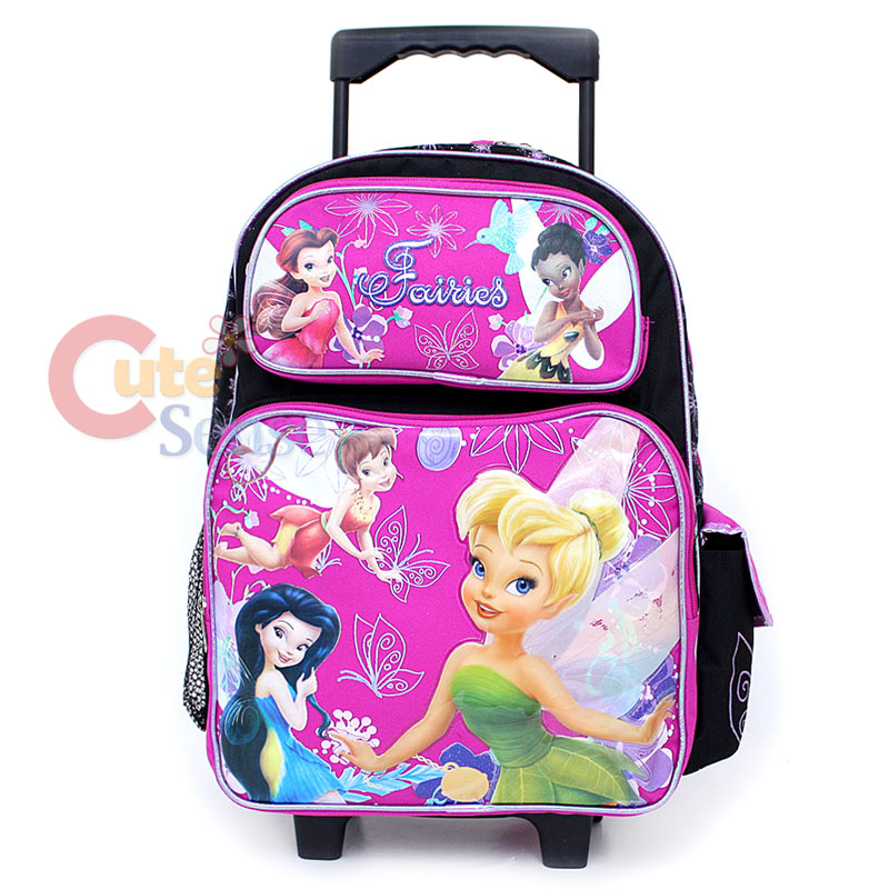 Disney TinkerBell Fairies School Roller Backpack Large  Purple Pink