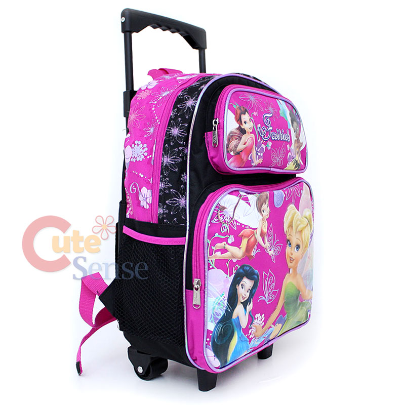 TinkerBell Fairies School Roller Backpack Bag 16 Pink