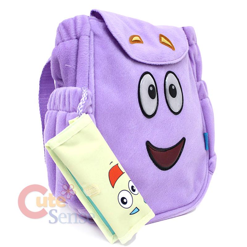 Dora The Explorer Rescue Plush Mr. Backpack Dora Purple Bag In Stock Dora Plush Backpack With Map on