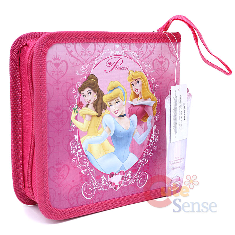 Disney Princess CD Case , Disk Organizer -Zippered Pink