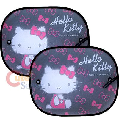 Sanrio Hello Kitty Auto Rare Window Sun Shade Black Pink Bow on