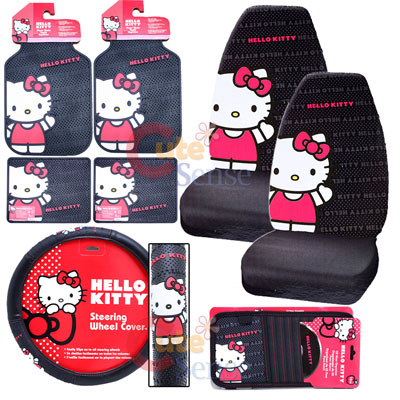 hello kitty car seat cover accessories set core 8pc. Black Bedroom Furniture Sets. Home Design Ideas