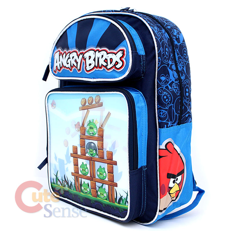 Angry Birds Large School Backpack Lunch Bag Set -Attack 3D Lenticular ...