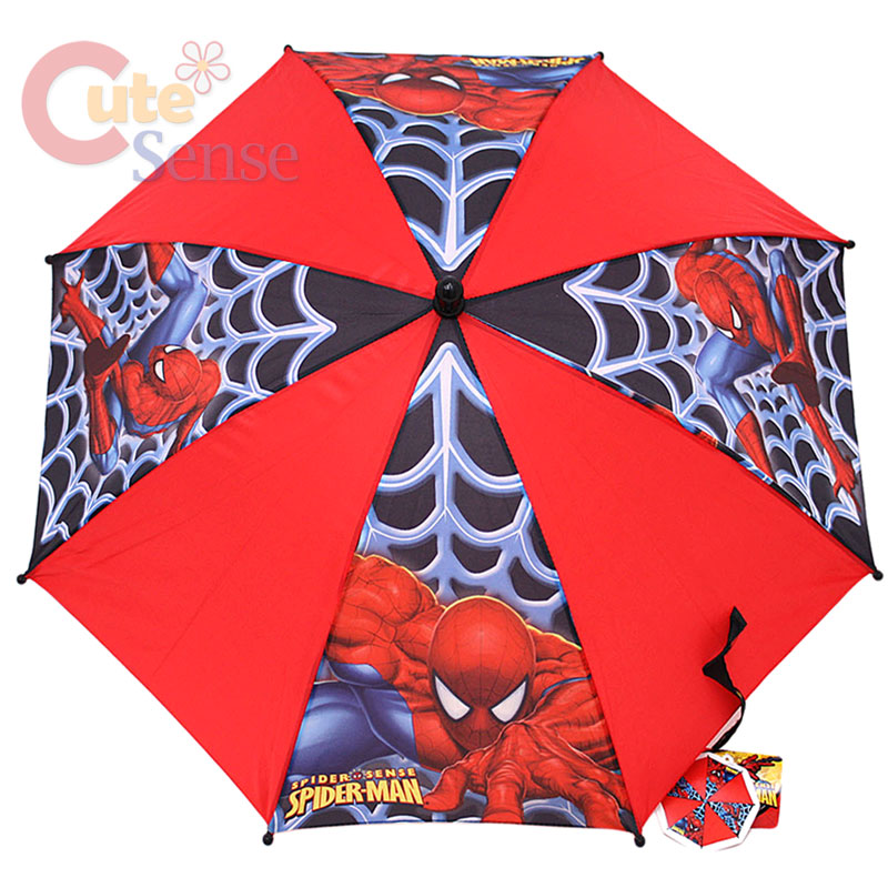 kid's Cartoon Umbrella Spiderman Boy's Umbrella Brolly Sun Rain Lightweight, child-safe nylon umbrella Fun, easy to grip perfect for little hands cartoon pattern This Spiderman Umbrella is blue and red, with 8 picture panels featuring Spiderman and his famous logo.