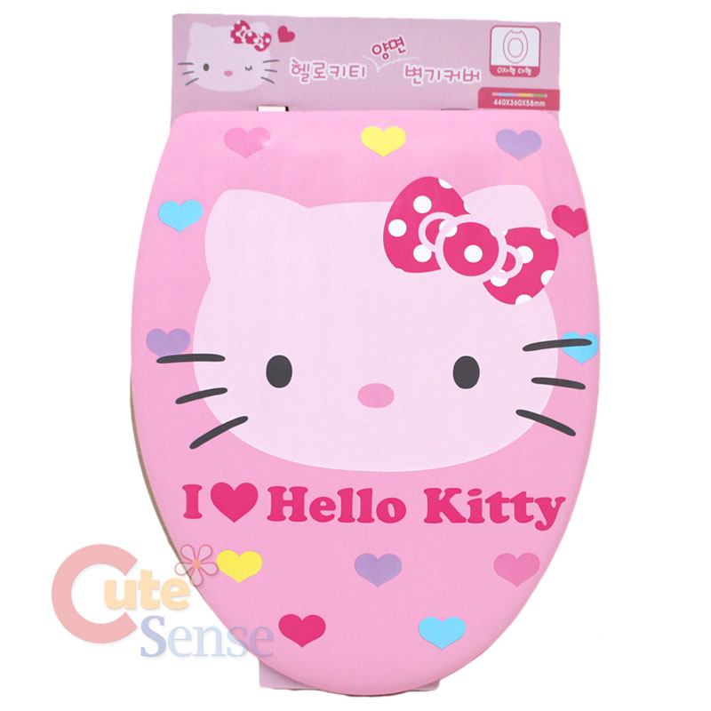 Sanrio hello kitty pink face toilet seat cover dual face for Commode kitty