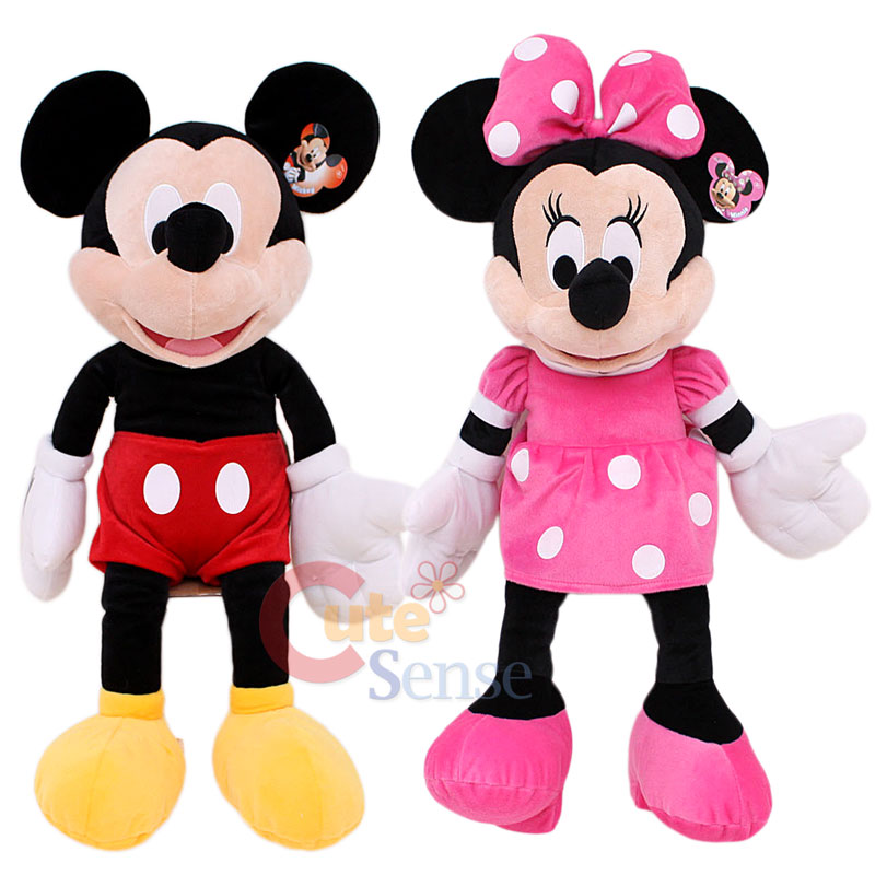 Disney Mickey & Minnie Mouse Plush Figure Doll Set   Jumbo 26in