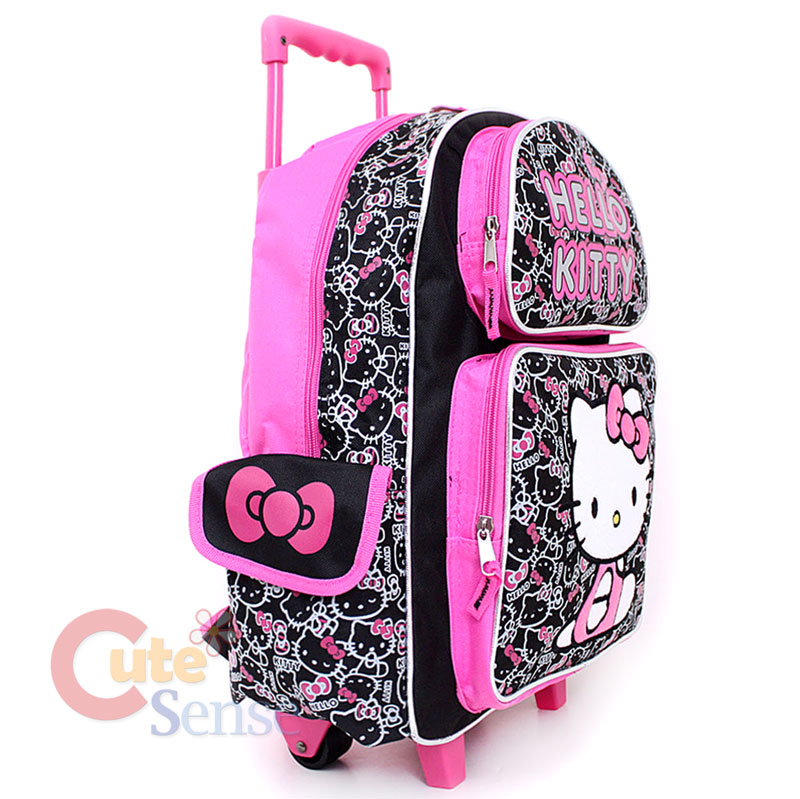 Sanrio Hello Kitty Large Rolling Backpack School Roller Bag Black/Pink