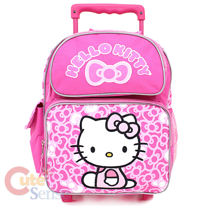Sanrio Hello Kitty School Roller Backpack Rolling Bag Medium Pink Bows