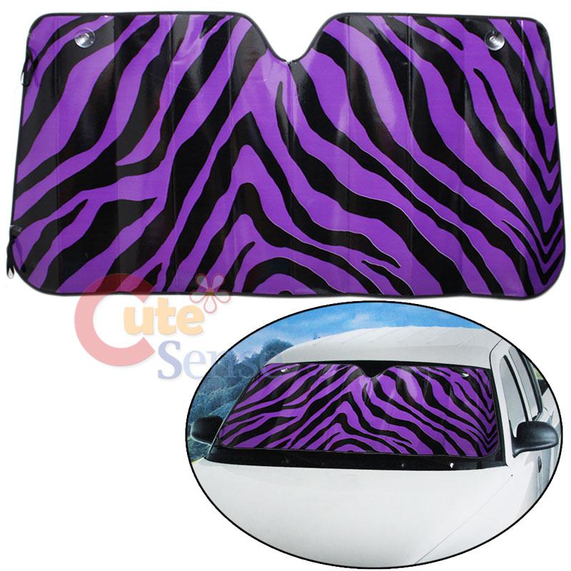 Black Purple Zebra Car Front Window Sun Shade Windshield