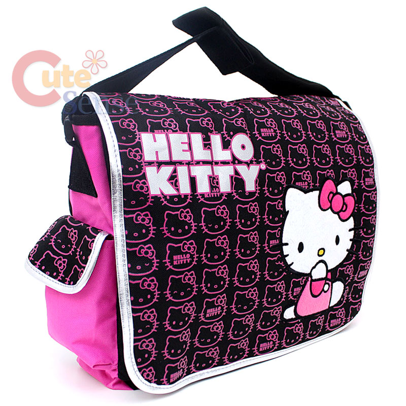 1ab80861cf1a Sanrio Hello Kitty School Messenger Bag Mini Faces   Pink Black on ...