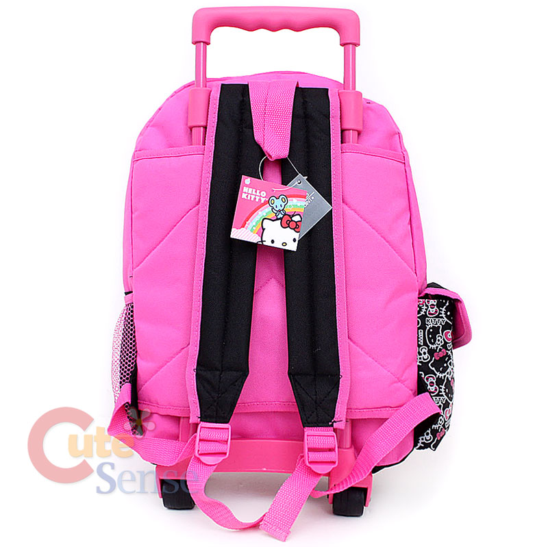 Kitty Large School Roller Backpack Lunch Bag Set Black Pink Outlines