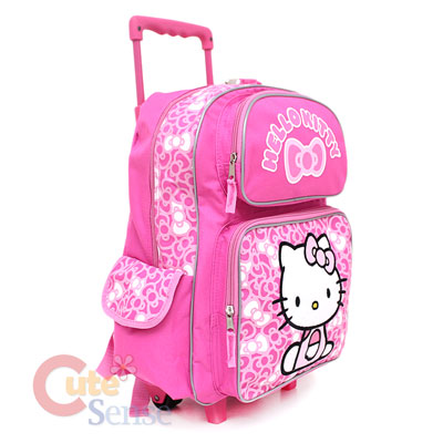 Sanrio Hello Kitty School Roller Backpack Rolling Bag Pink Bows 3
