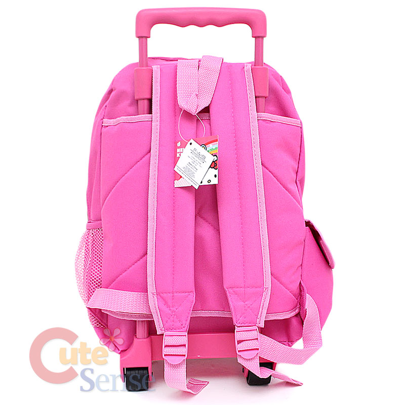 Sanrio Hello Kitty School Roller Backpack Rolling Bag Pink Bows 4