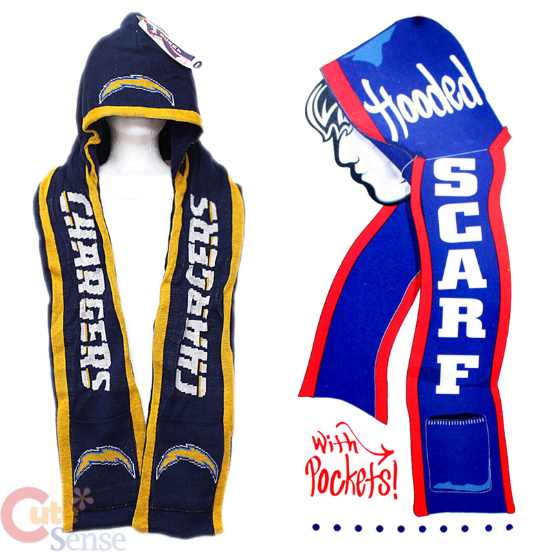 San Diego Chargers Beanie: NFL San Diego Chargers Hooded Knit Scarf W/Pocket :Beanie