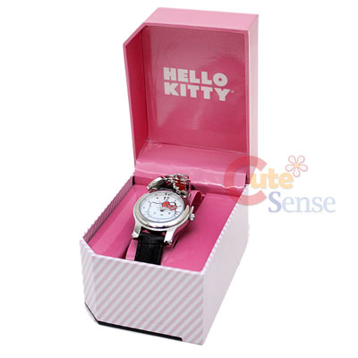Sanrio Hello Kitty Black Wrist Watch w Pendent Licensed Stainless